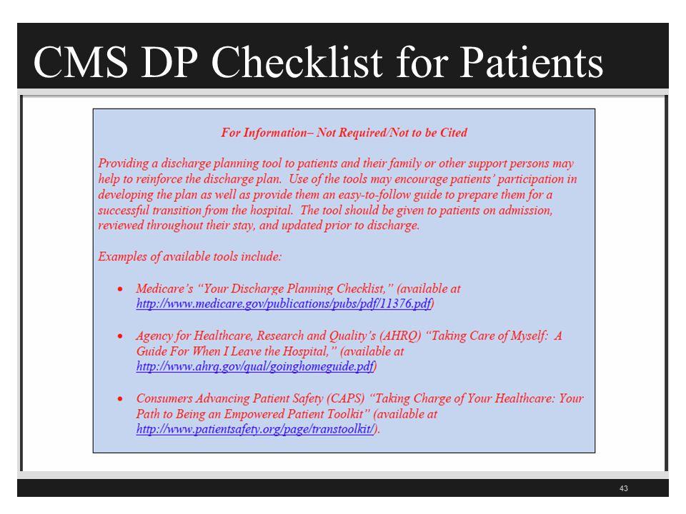 CMS DP Checklist for Patients 43