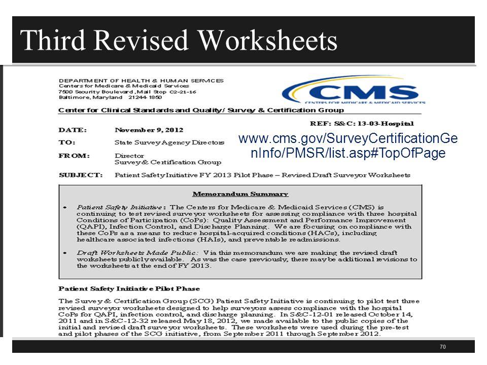 Third Revised Worksheets 70 www.cms.gov/SurveyCertificationGe nInfo/PMSR/list.asp#TopOfPage