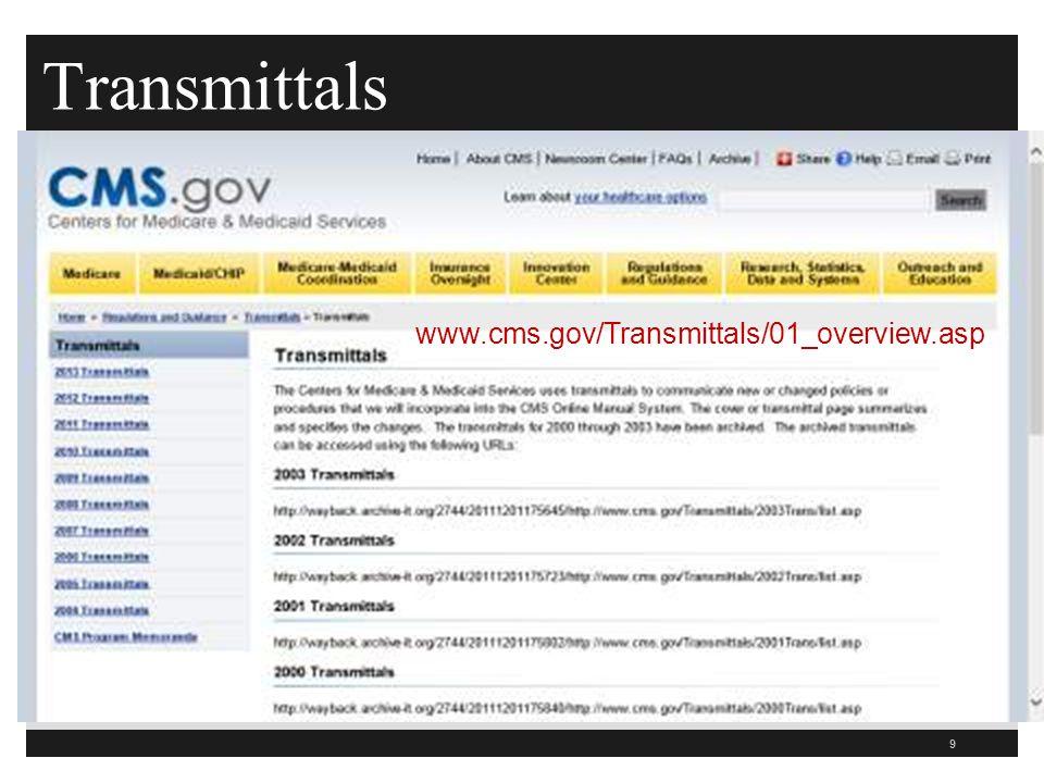 Transmittals 9 www.cms.gov/Transmittals/01_overview.asp