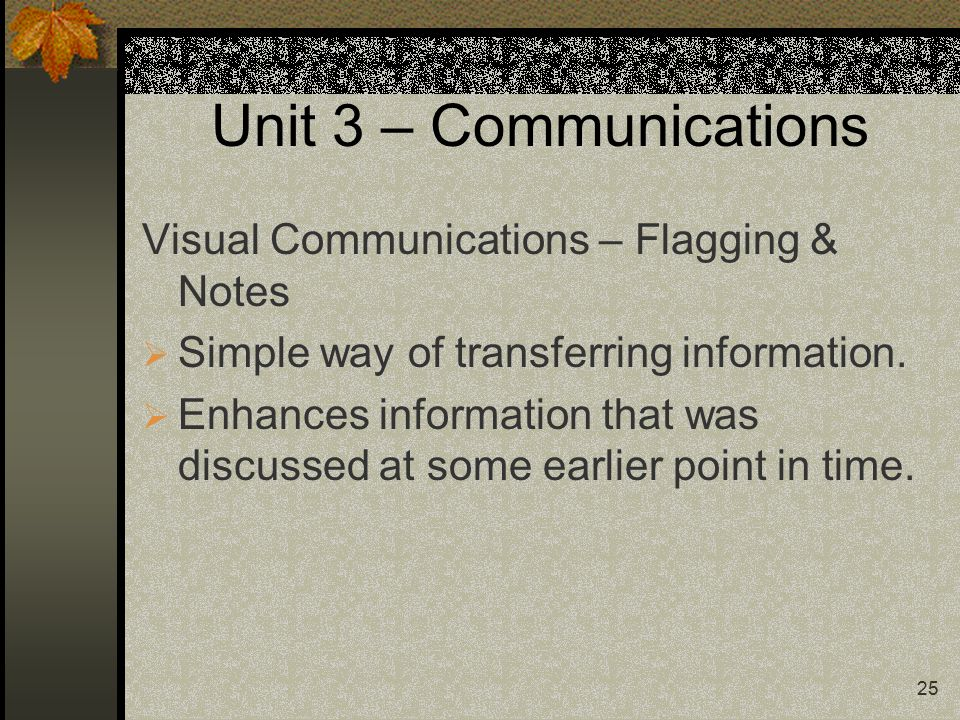 25 Unit 3 – Communications Visual Communications – Flagging & Notes  Simple way of transferring information.