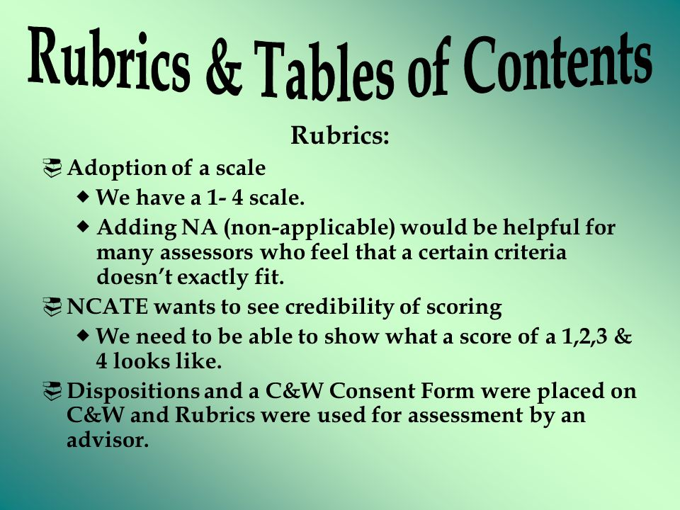 Rubrics:  Adoption of a scale  We have a 1- 4 scale.