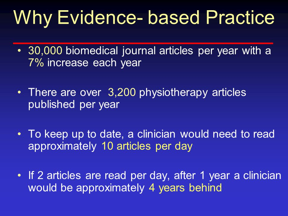 Why Evidence- based Practice 30,000 biomedical journal articles per year with a 7% increase each year There are over 3,200 physiotherapy articles published per year To keep up to date, a clinician would need to read approximately 10 articles per day If 2 articles are read per day, after 1 year a clinician would be approximately 4 years behind