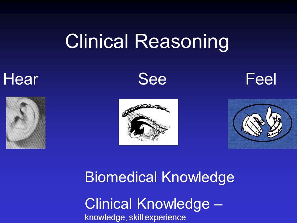 Clinical Reasoning Hear See Feel Biomedical Knowledge Clinical Knowledge – knowledge, skill experience