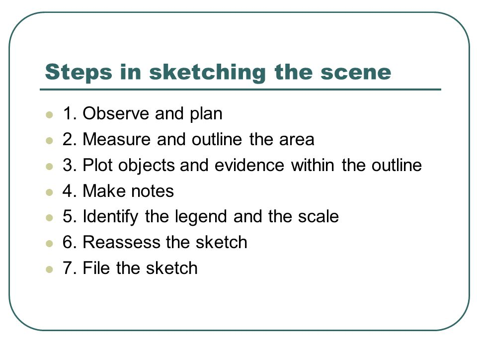 Steps in sketching the scene 1. Observe and plan 2.