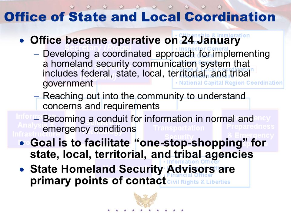 Office of State and Local Coordination  Office became operative on 24 January  Developing a coordinated approach for implementing a homeland security communication system that includes federal, state, local, territorial, and tribal government  Reaching out into the community to understand concerns and requirements  Becoming a conduit for information in normal and emergency conditions  Goal is to facilitate one-stop-shopping for state, local, territorial, and tribal agencies  State Homeland Security Advisors are primary points of contact