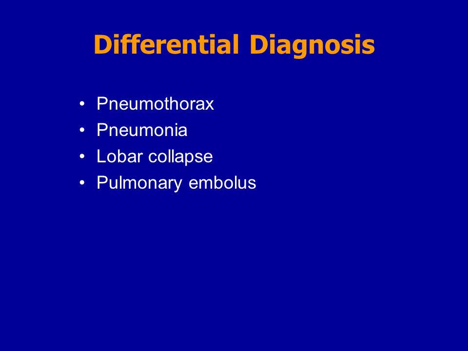 Pneumothorax Pneumonia Lobar collapse Pulmonary embolus