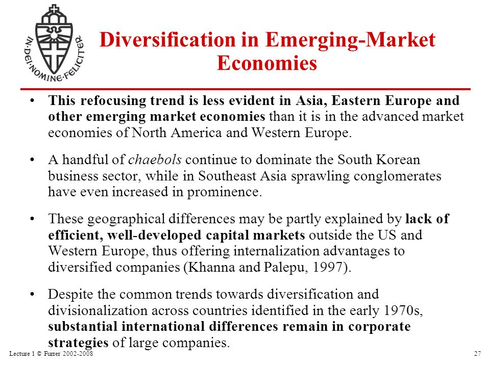 Lecture 1 © Furrer 2002-200827 Diversification in Emerging-Market Economies This refocusing trend is less evident in Asia, Eastern Europe and other em
