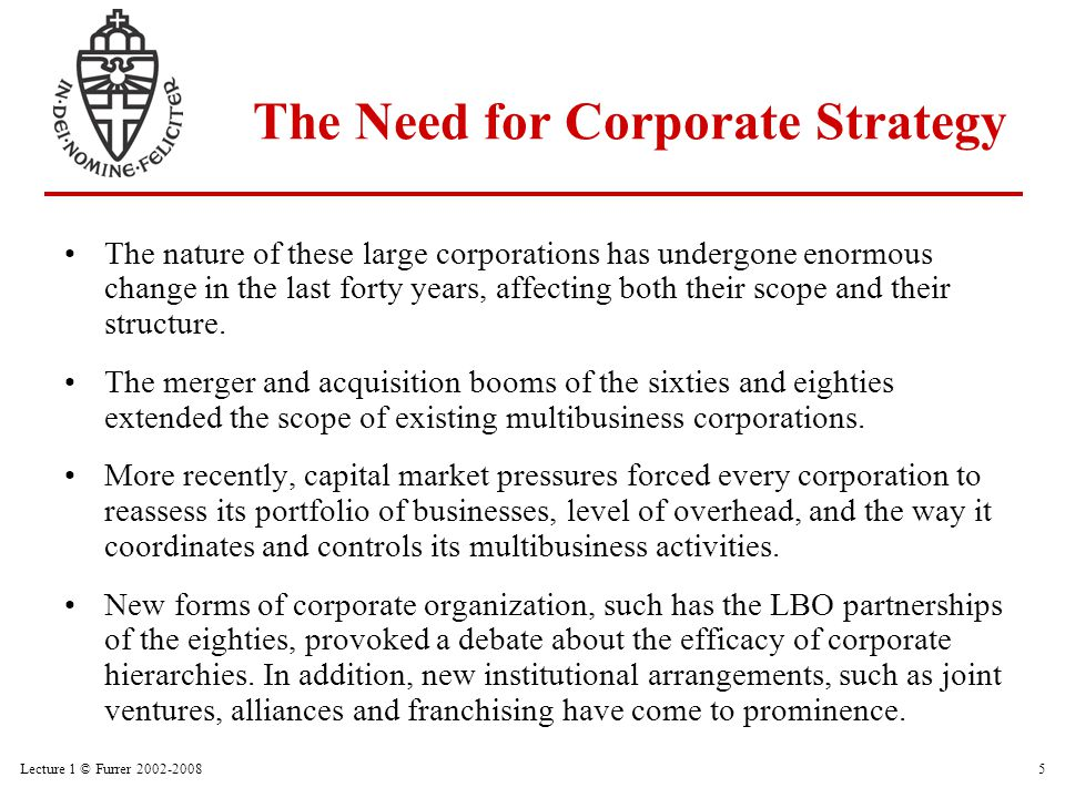 Lecture 1 © Furrer 2002-200816 Young Strategy and Structure Growth Pattern Maturity Age of Organization Size of Organization Small Large Coordination and Control Problems Simple Structure Functional Structure Multi- divisional Structure Matrix Structure Network Structure Ref.: Adapted from Greiner, 1972; Churchill and Lewis, 1983