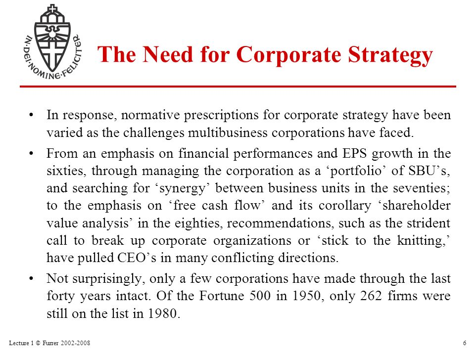 Lecture 1 © Furrer 2002-20086 The Need for Corporate Strategy In response, normative prescriptions for corporate strategy have been varied as the chal