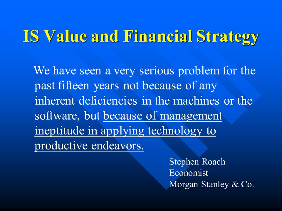We have seen a very serious problem for the past fifteen years not because of any inherent deficiencies in the machines or the software, but because of management ineptitude in applying technology to productive endeavors.