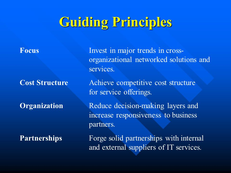 Guiding Principles FocusInvest in major trends in cross- organizational networked solutions and services.