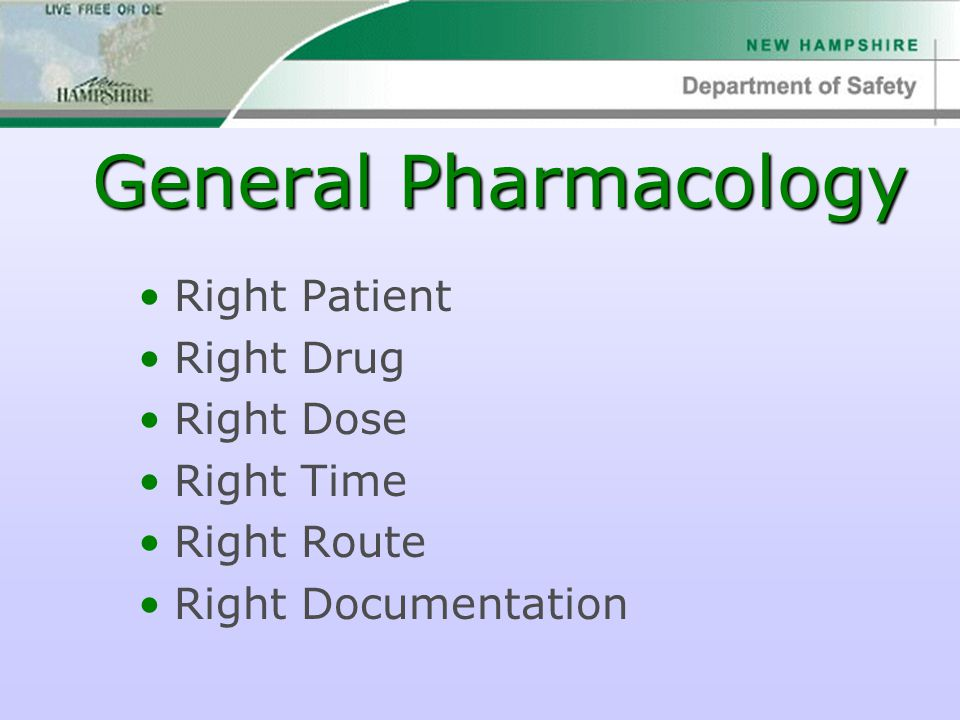 General Pharmacology Right Patient Right Drug Right Dose Right Time Right Route Right Documentation