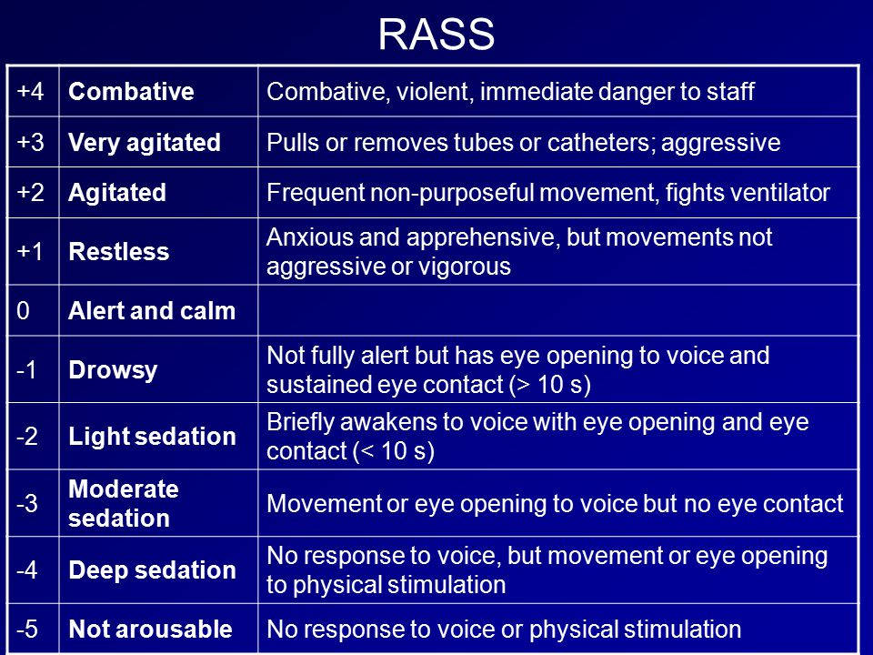 RASS +4CombativeCombative, violent, immediate danger to staff +3Very agitatedPulls or removes tubes or catheters; aggressive +2AgitatedFrequent non-purposeful movement, fights ventilator +1Restless Anxious and apprehensive, but movements not aggressive or vigorous 0Alert and calm Drowsy Not fully alert but has eye opening to voice and sustained eye contact (> 10 s) -2Light sedation Briefly awakens to voice with eye opening and eye contact (< 10 s) -3 Moderate sedation Movement or eye opening to voice but no eye contact -4Deep sedation No response to voice, but movement or eye opening to physical stimulation -5Not arousableNo response to voice or physical stimulation