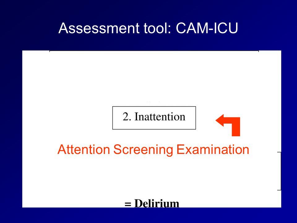 Assessment tool: CAM-ICU Attention Screening Examination