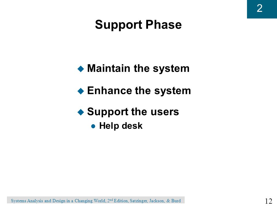 12 2 Systems Analysis and Design in a Changing World, 2 nd Edition, Satzinger, Jackson, & Burd Support Phase u Maintain the system u Enhance the system u Support the users l Help desk