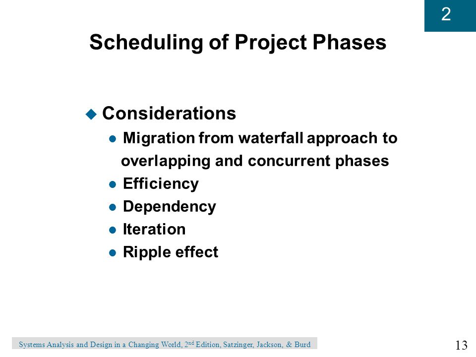 13 2 Systems Analysis and Design in a Changing World, 2 nd Edition, Satzinger, Jackson, & Burd Scheduling of Project Phases u Considerations l Migration from waterfall approach to overlapping and concurrent phases l Efficiency l Dependency l Iteration l Ripple effect