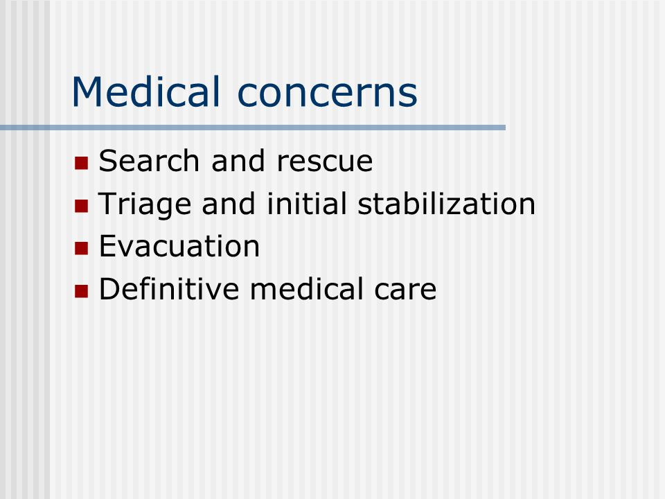 Triage Triage is a dynamic process and is often done more than once for each patient.