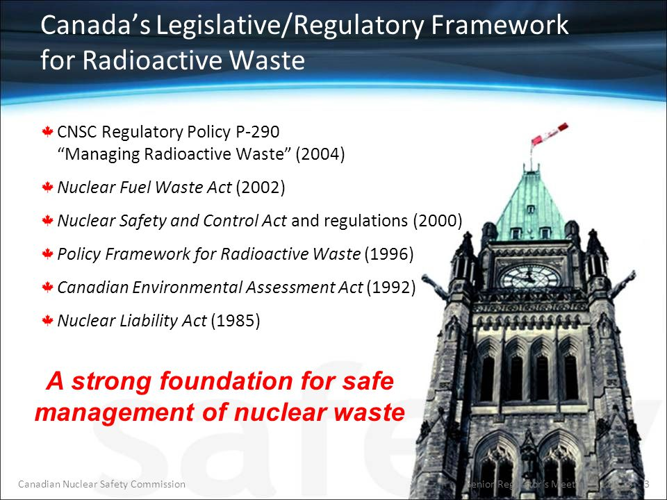 CNSC Regulates All Nuclear-Related Facilities and Activities Uranium mines and mills Uranium fuel fabricators and processing Nuclear power plants Radioactive waste management facilities Nuclear substance processing Industrial and medical applications Nuclear research and educational Export/import control …From Cradle To Grave Senior Regulator's Meeting 11.09.15 - 4Canadian Nuclear Safety Commission