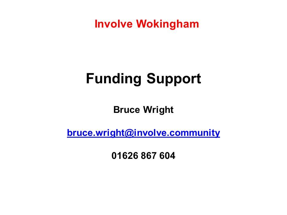 Funding Support Bruce Wright bruce.wright@involve.community 01626 867 604 bruce.wright@involve.community Involve Wokingham