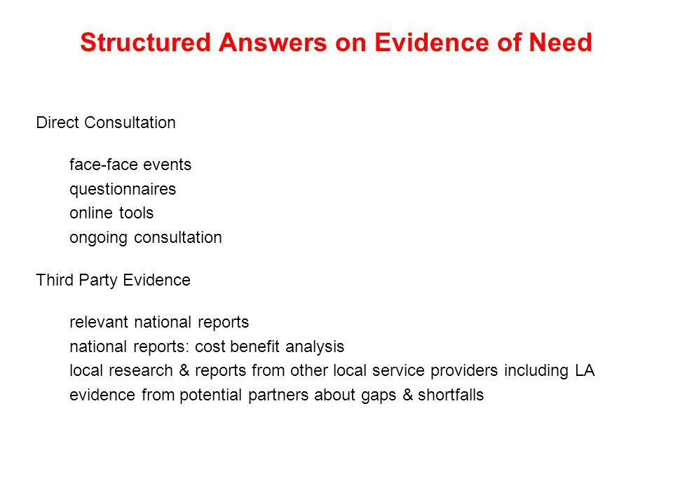 Structured Answers on Evidence of Need Direct Consultation face-face events questionnaires online tools ongoing consultation Third Party Evidence relevant national reports national reports: cost benefit analysis local research & reports from other local service providers including LA evidence from potential partners about gaps & shortfalls