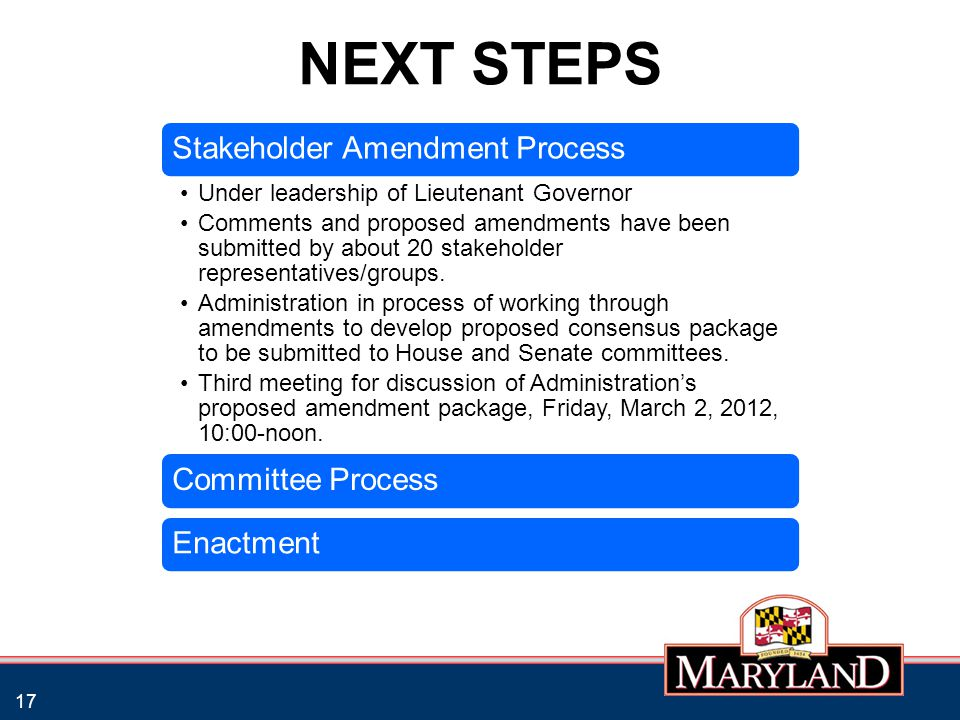 NEXT STEPS 17 Stakeholder Amendment Process Under leadership of Lieutenant Governor Comments and proposed amendments have been submitted by about 20 s