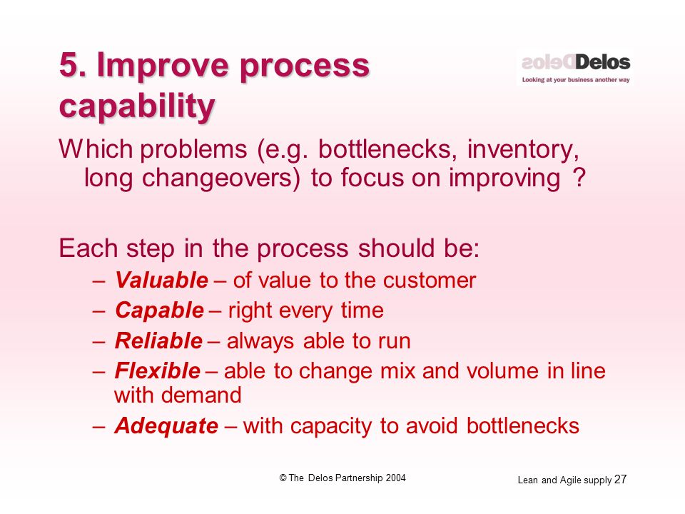 Lean and Agile supply 27 © The Delos Partnership 2004 5.