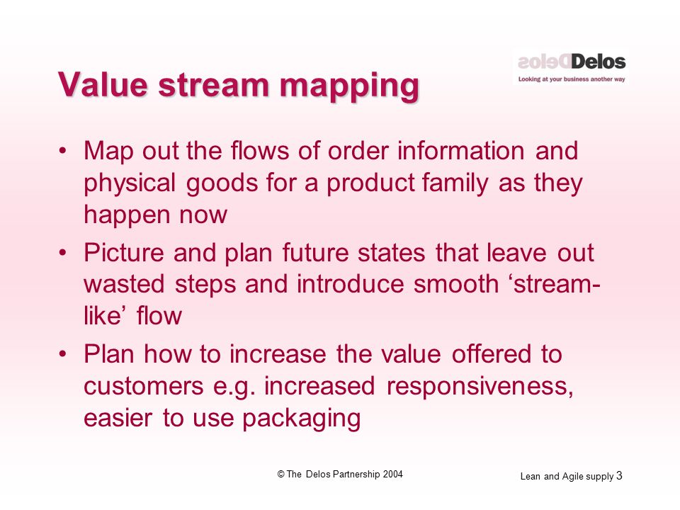 Lean and Agile supply 4 © The Delos Partnership 2004 Draw the current state The current state shows what is really happening right now It identifies wasteful steps and provides opportunity to visualise and plan a future state