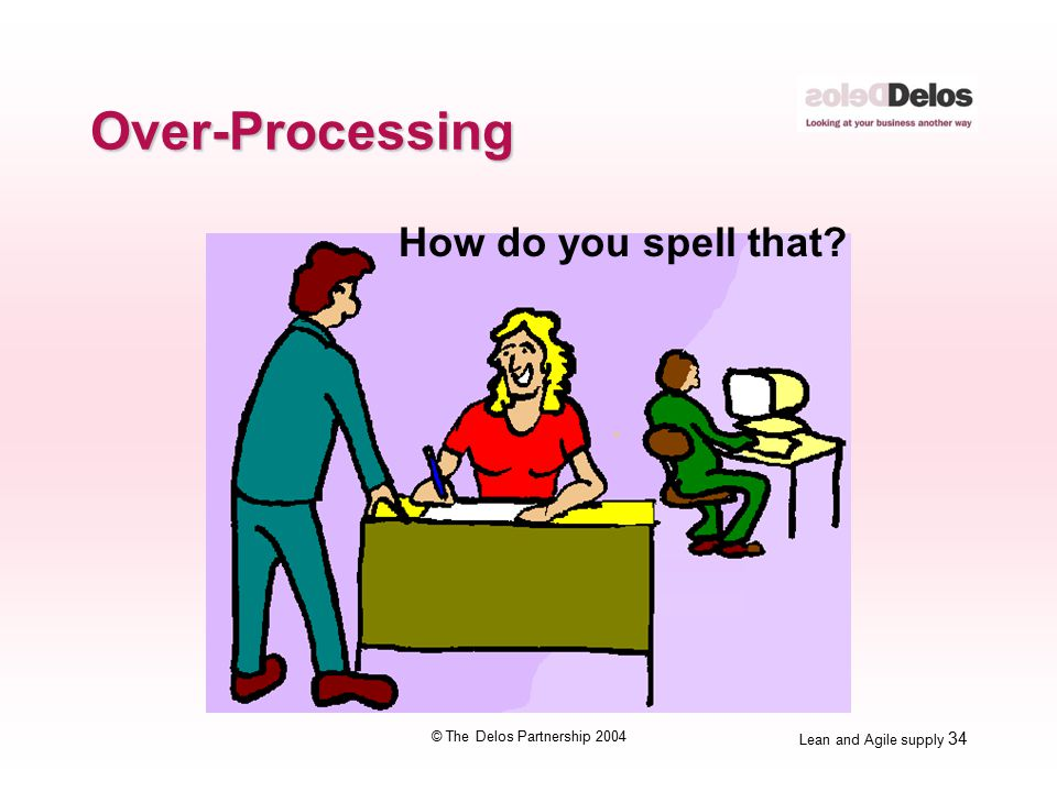 Lean and Agile supply 34 © The Delos Partnership 2004 Over-Processing How do you spell that?