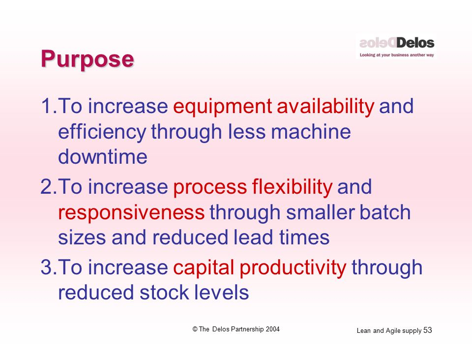 Lean and Agile supply 53 © The Delos Partnership 2004 Purpose 1.To increase equipment availability and efficiency through less machine downtime 2.To increase process flexibility and responsiveness through smaller batch sizes and reduced lead times 3.To increase capital productivity through reduced stock levels
