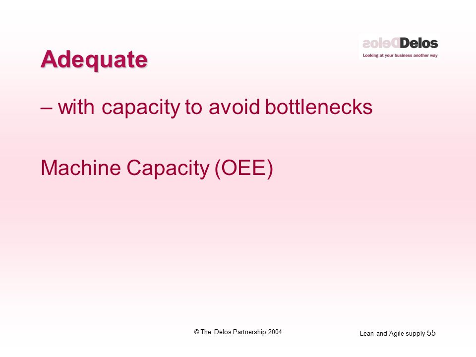 Lean and Agile supply 55 © The Delos Partnership 2004 Adequate – with capacity to avoid bottlenecks Machine Capacity (OEE)
