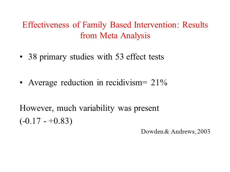 Effectiveness of Family Based Intervention: Results from Meta Analysis 38 primary studies with 53 effect tests Average reduction in recidivism= 21% However, much variability was present (-0.17 - +0.83) Dowden & Andrews, 2003