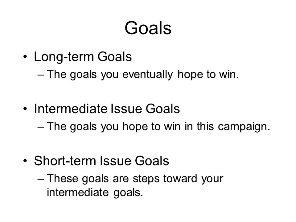 Goals Long-term Goals –The goals you eventually hope to win. Intermediate Issue Goals –The goals you hope to win in this campaign. Short-term Issue Go