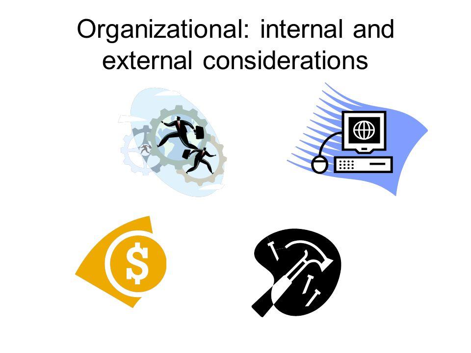 Organizational: internal and external considerations