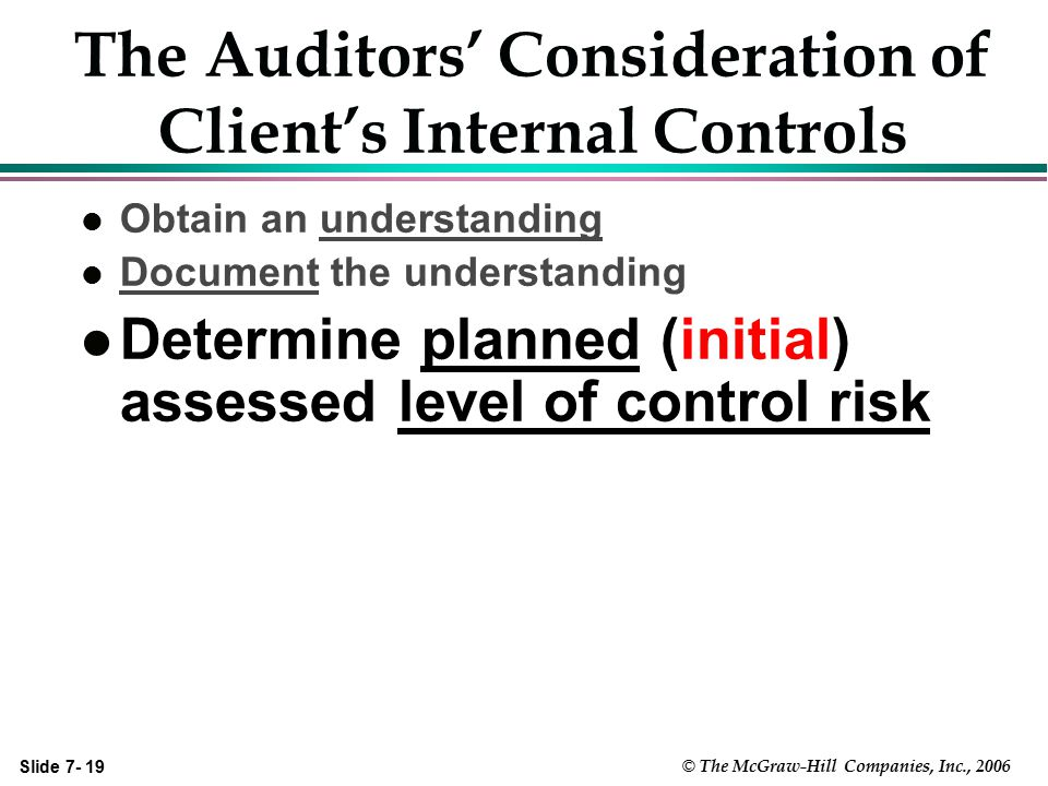 Slide 7- 19 © The McGraw-Hill Companies, Inc., 2006 The Auditors' Consideration of Client's Internal Controls l Obtain an understanding l Document the