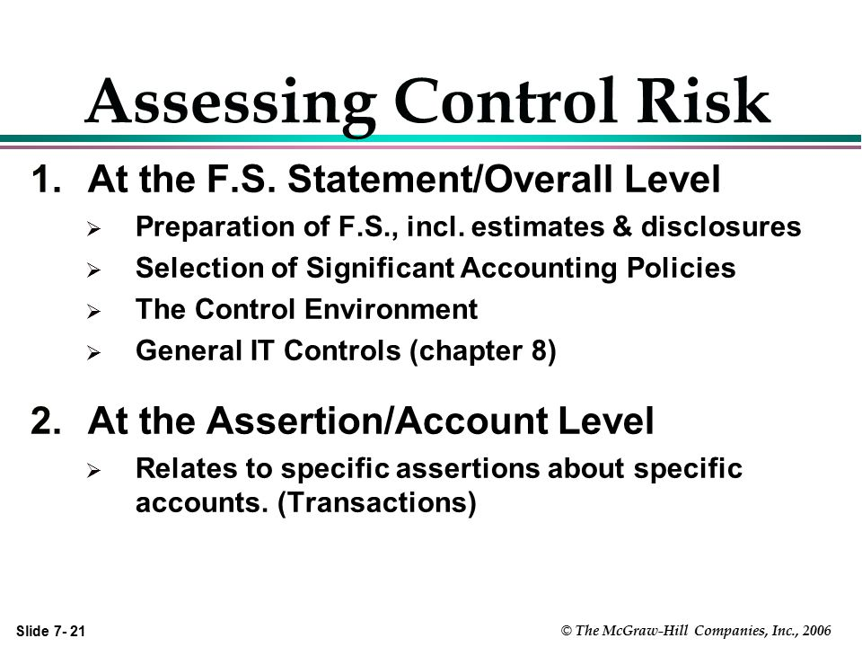 Slide 7- 21 © The McGraw-Hill Companies, Inc., 2006 Assessing Control Risk 1.At the F.S. Statement/Overall Level  Preparation of F.S., incl. estimate