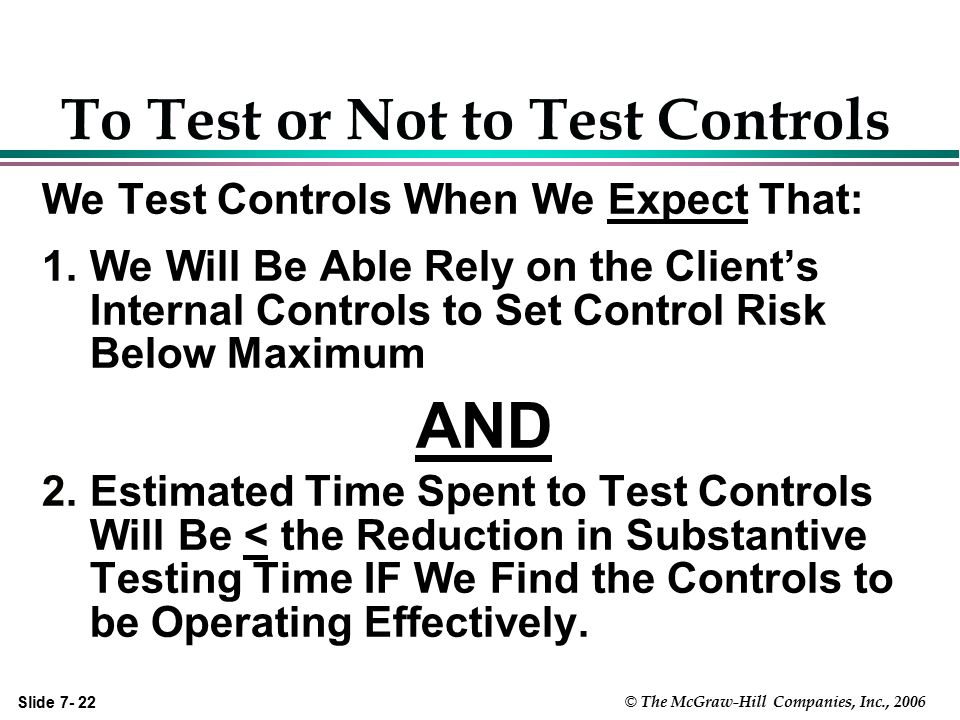 Slide 7- 22 © The McGraw-Hill Companies, Inc., 2006 To Test or Not to Test Controls We Test Controls When We Expect That: 1.We Will Be Able Rely on th