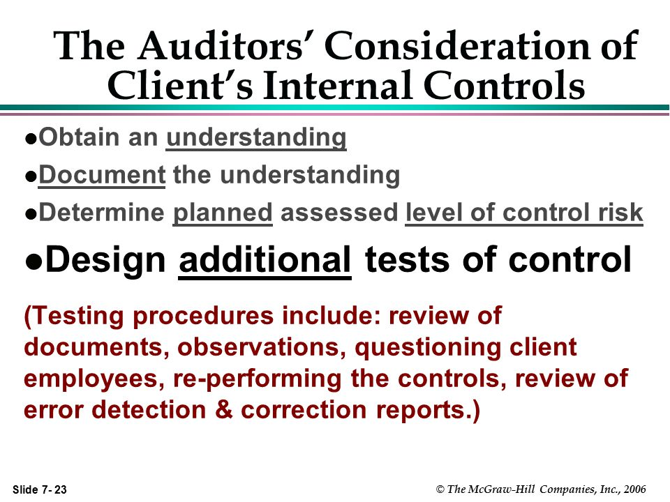 Slide 7- 23 © The McGraw-Hill Companies, Inc., 2006 The Auditors' Consideration of Client's Internal Controls l Obtain an understanding l Document the
