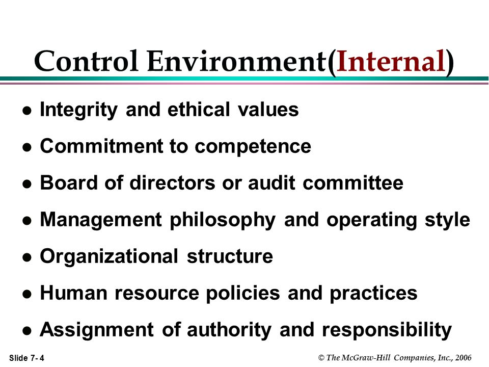 Slide 7- 5 © The McGraw-Hill Companies, Inc., 2006 Control Environment (External) Reviews by Governmental Agencies:  OSHA, FDA, IRS, GAO, EPA, DCAA, Bank Examiners, Bd of Equalization, State Franchise Tax Bd Reviews by Non-Governmental Agencies:  ISO, Industry Associations