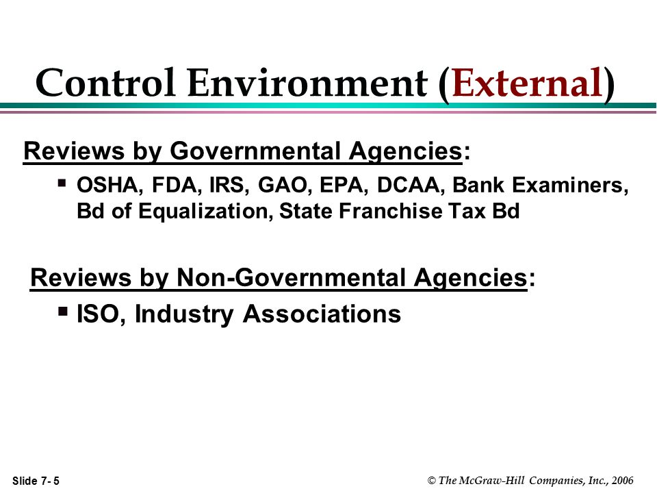 Slide 7- 26 © The McGraw-Hill Companies, Inc., 2006 The Auditors' Consideration of Client's Internal Controls l Obtain an understanding l Document the understanding l Determine planned assessed level of control risk l Design additional tests of control l Test Controls and Reassess control risk l Design nature, timing and extent of substantive tests