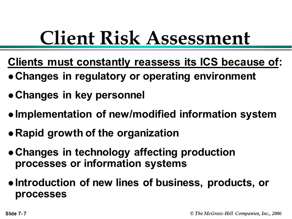 Slide 7- 28 © The McGraw-Hill Companies, Inc., 2006 ICS in a Small Client  Adequate segregation of duties impossible.