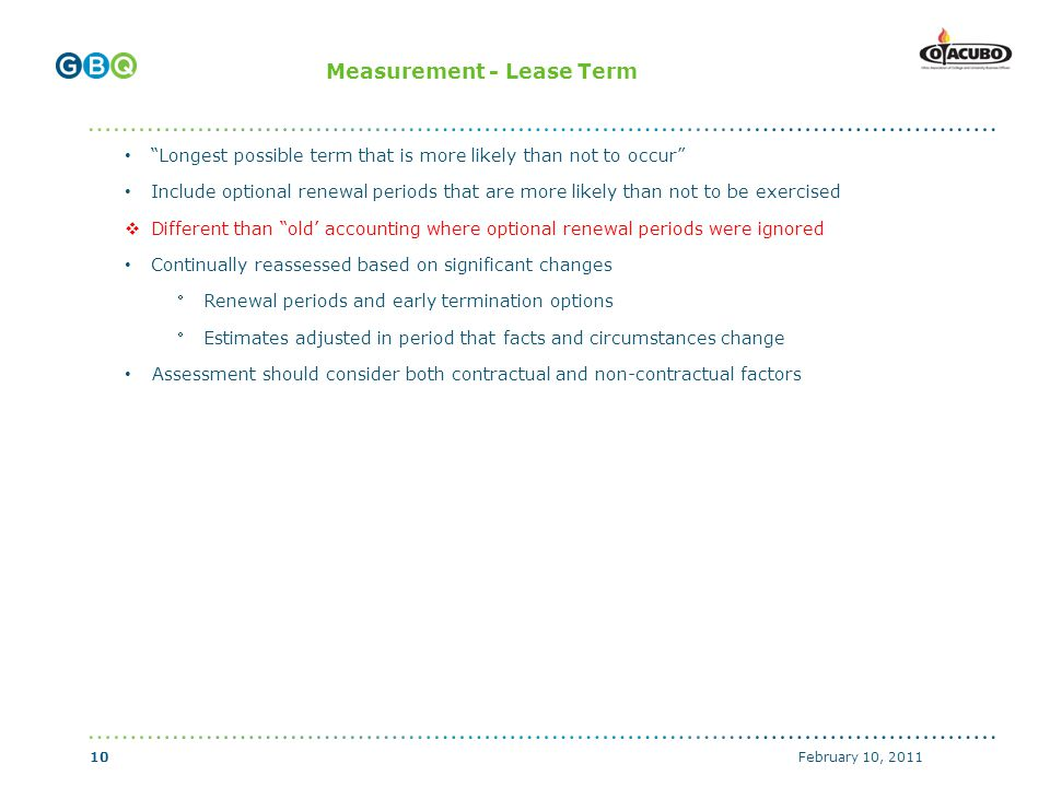 ↑ Body copy start if no header (top of text box with 0 margins) ↑ Header start (top of text box with 0 margins) ↑ Body copy start with graphics above (top of text box with 0 margins) Measurement - Lease Term Longest possible term that is more likely than not to occur Include optional renewal periods that are more likely than not to be exercised  Different than old' accounting where optional renewal periods were ignored Continually reassessed based on significant changes Renewal periods and early termination options Estimates adjusted in period that facts and circumstances change Assessment should consider both contractual and non-contractual factors February 10, 201110