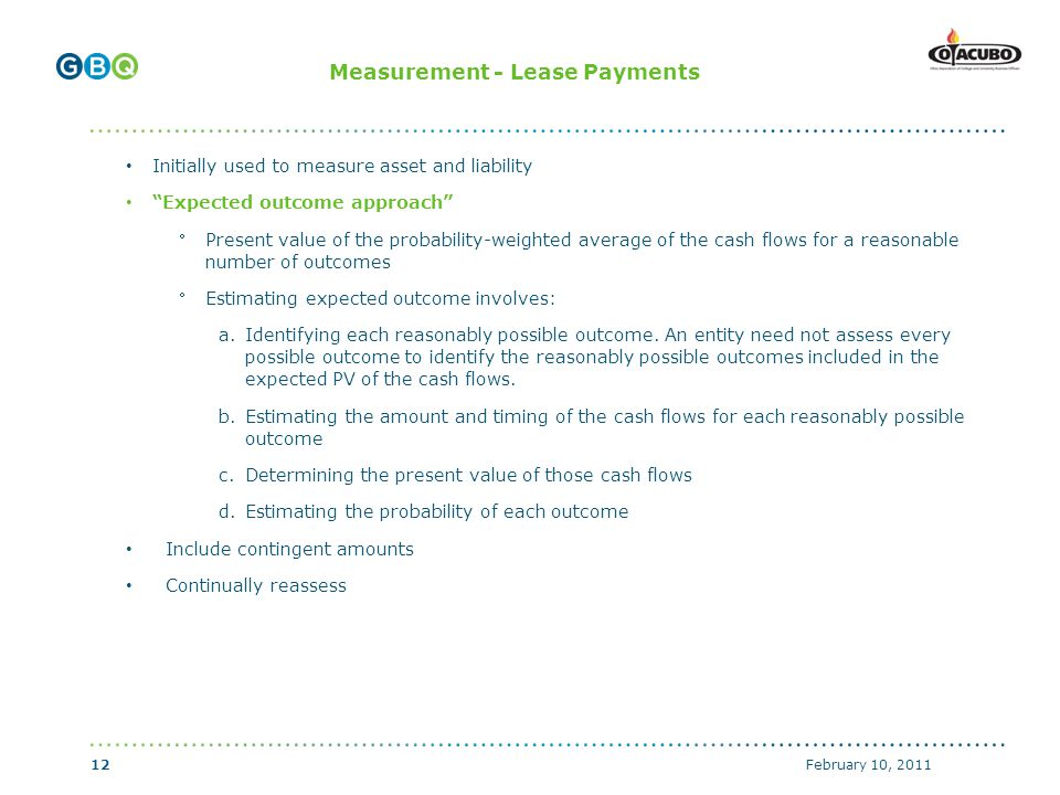 ↑ Body copy start if no header (top of text box with 0 margins) ↑ Header start (top of text box with 0 margins) ↑ Body copy start with graphics above (top of text box with 0 margins) Measurement - Lease Payments Initially used to measure asset and liability Expected outcome approach Present value of the probability-weighted average of the cash flows for a reasonable number of outcomes Estimating expected outcome involves: a.Identifying each reasonably possible outcome.
