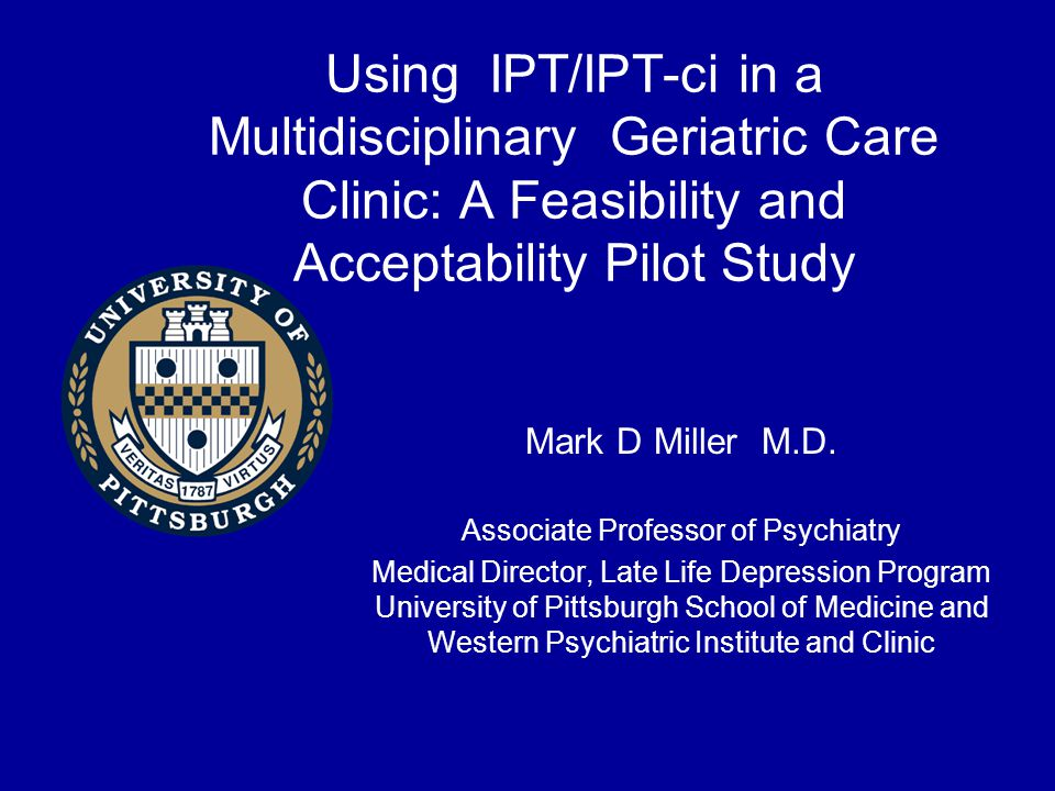 IPT-ci Intervention for ED Meet the patient and caregiver at their current level Decide on a course of psycho-education best for both Consider working with the caregiver separately first Prepare for joint problem solving sessions Present yourself as an advocate for both parties with a focus on the identified patient's welfare