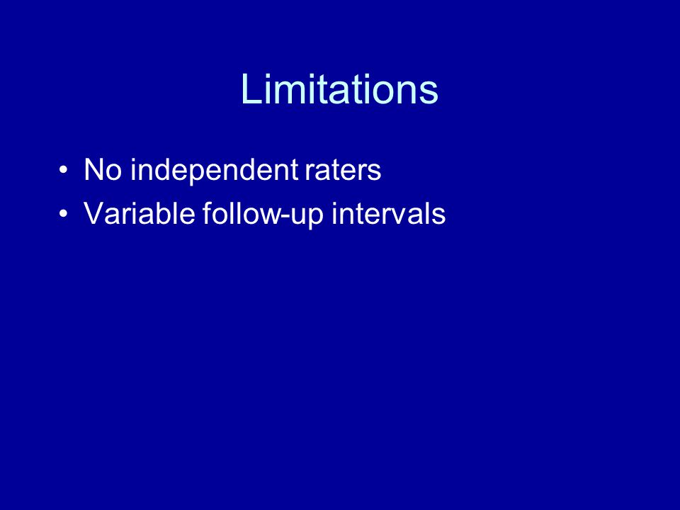 Limitations No independent raters Variable follow-up intervals