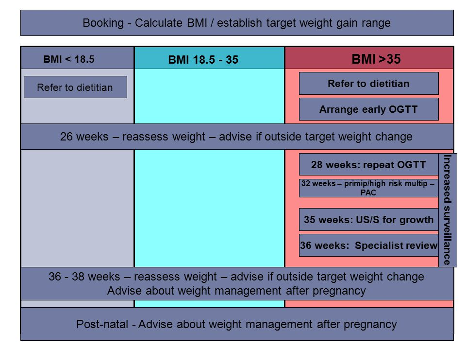 BMI >35 BMI 18.5 - 35 BMI < 18.5 26 weeks – reassess weight – advise if outside target weight change 36 - 38 weeks – reassess weight – advise if outside target weight change Advise about weight management after pregnancy 35 weeks: US/S for growth 36 weeks: Specialist review 28 weeks: repeat OGTT Refer to dietitian Arrange early OGTT Refer to dietitian Booking - Calculate BMI / establish target weight gain range Increased surveillance 32 weeks – primip/high risk multip – PAC Post-natal - Advise about weight management after pregnancy