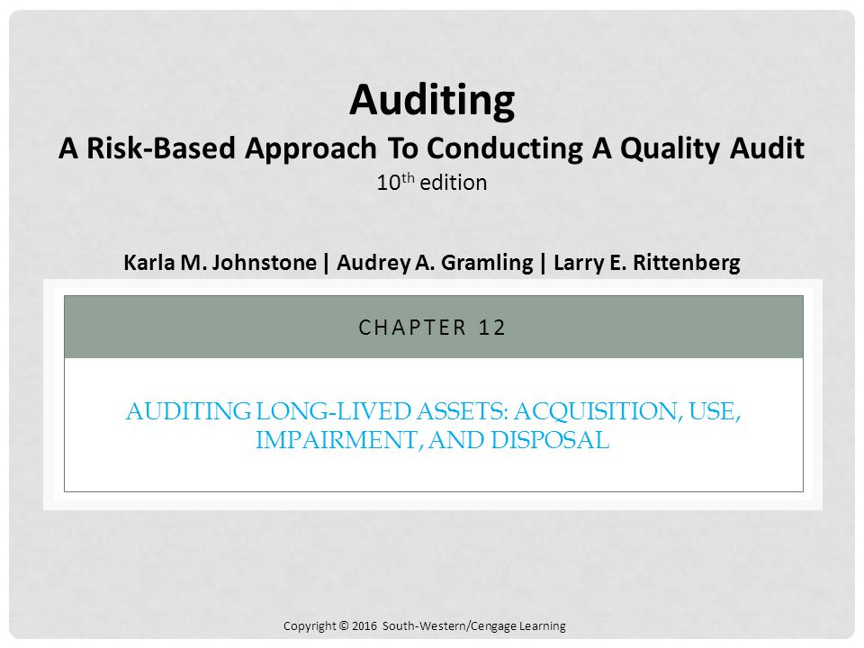 Copyright © 2016 South-Western/Cengage Learning AUDITING LONG-LIVED ASSETS: ACQUISITION, USE, IMPAIRMENT, AND DISPOSAL CHAPTER 12 Auditing A Risk-Base