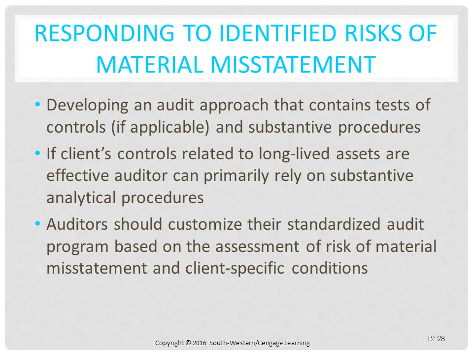 Copyright © 2016 South-Western/Cengage Learning 12-28 RESPONDING TO IDENTIFIED RISKS OF MATERIAL MISSTATEMENT Developing an audit approach that contai