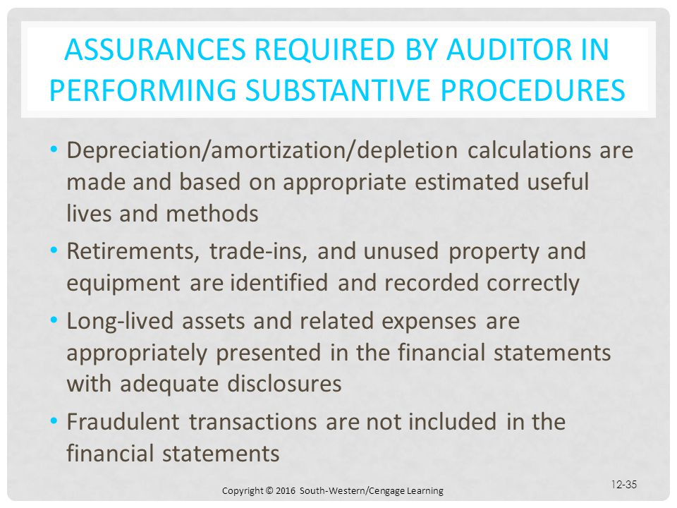 Copyright © 2016 South-Western/Cengage Learning 12-35 ASSURANCES REQUIRED BY AUDITOR IN PERFORMING SUBSTANTIVE PROCEDURES Depreciation/amortization/de