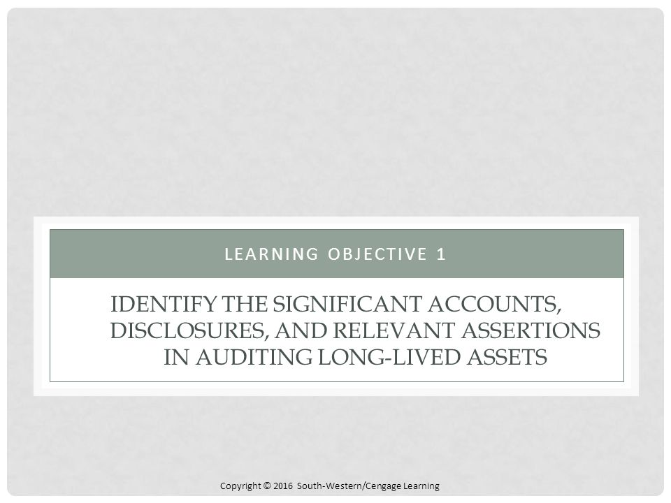 Copyright © 2016 South-Western/Cengage Learning IDENTIFY THE SIGNIFICANT ACCOUNTS, DISCLOSURES, AND RELEVANT ASSERTIONS IN AUDITING LONG-LIVED ASSETS