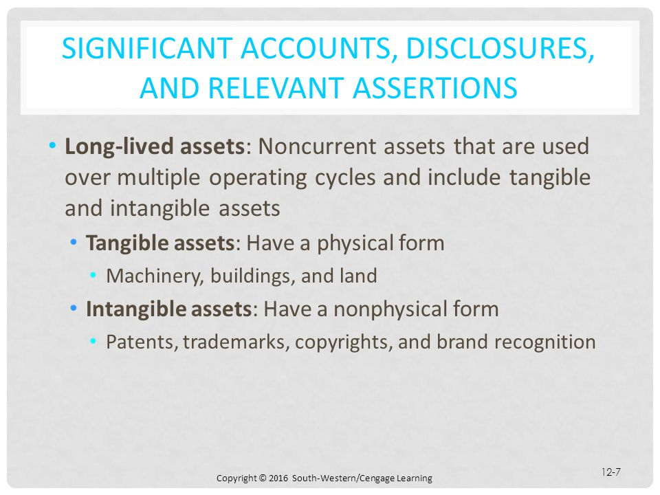 Copyright © 2016 South-Western/Cengage Learning 12-7 SIGNIFICANT ACCOUNTS, DISCLOSURES, AND RELEVANT ASSERTIONS Long-lived assets: Noncurrent assets t